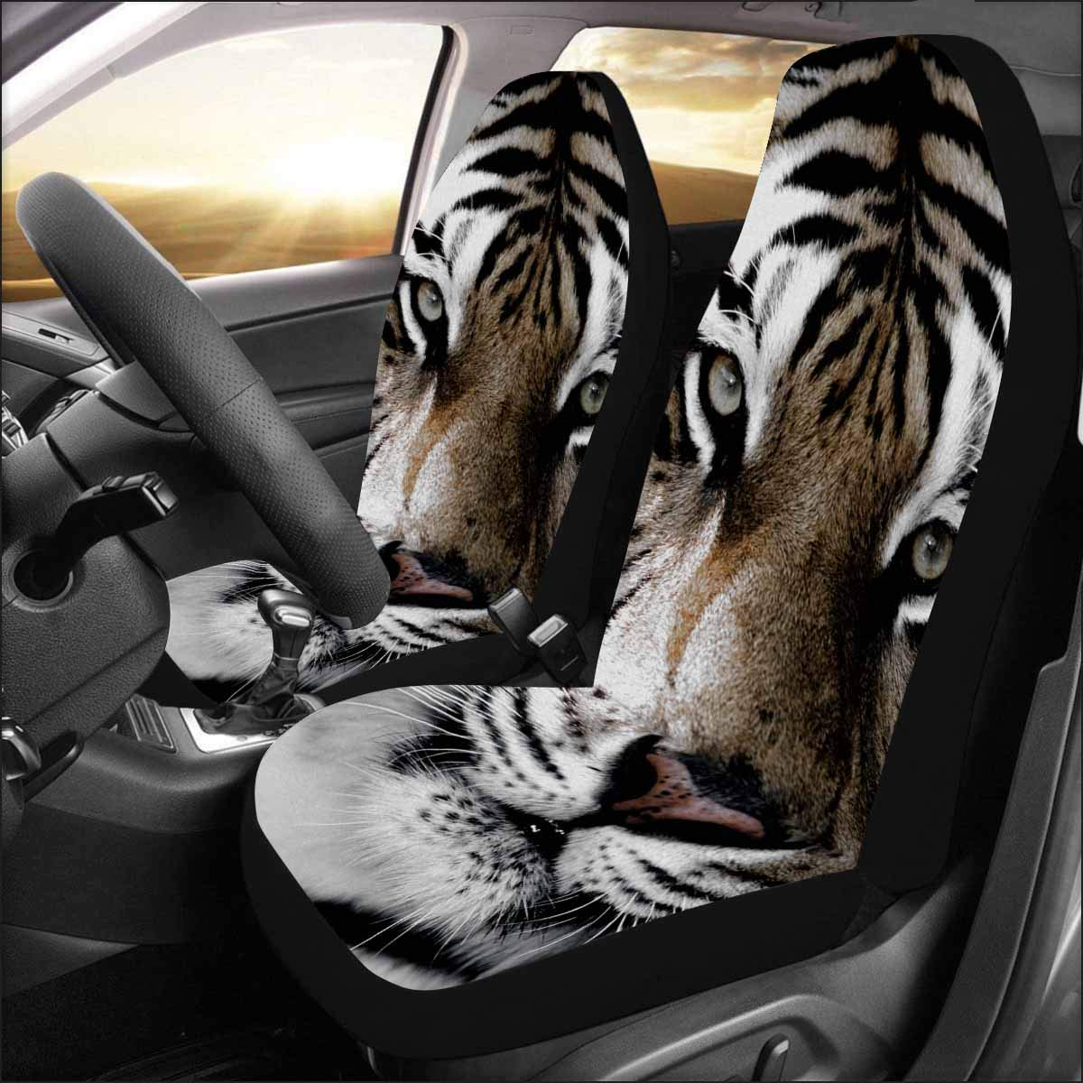 INTERESTPRINT Universal Fit Custom Tiger Close-up of face Protector Two Front Car Seat Covers Set -100% Breathable