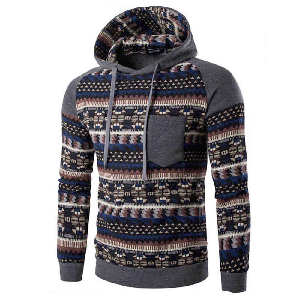REYO Men's Jackets Casual Sale, Men Retro Long Sleeve Hoodie Hooded Sweatshirt Tops Jacket Coat Outwear