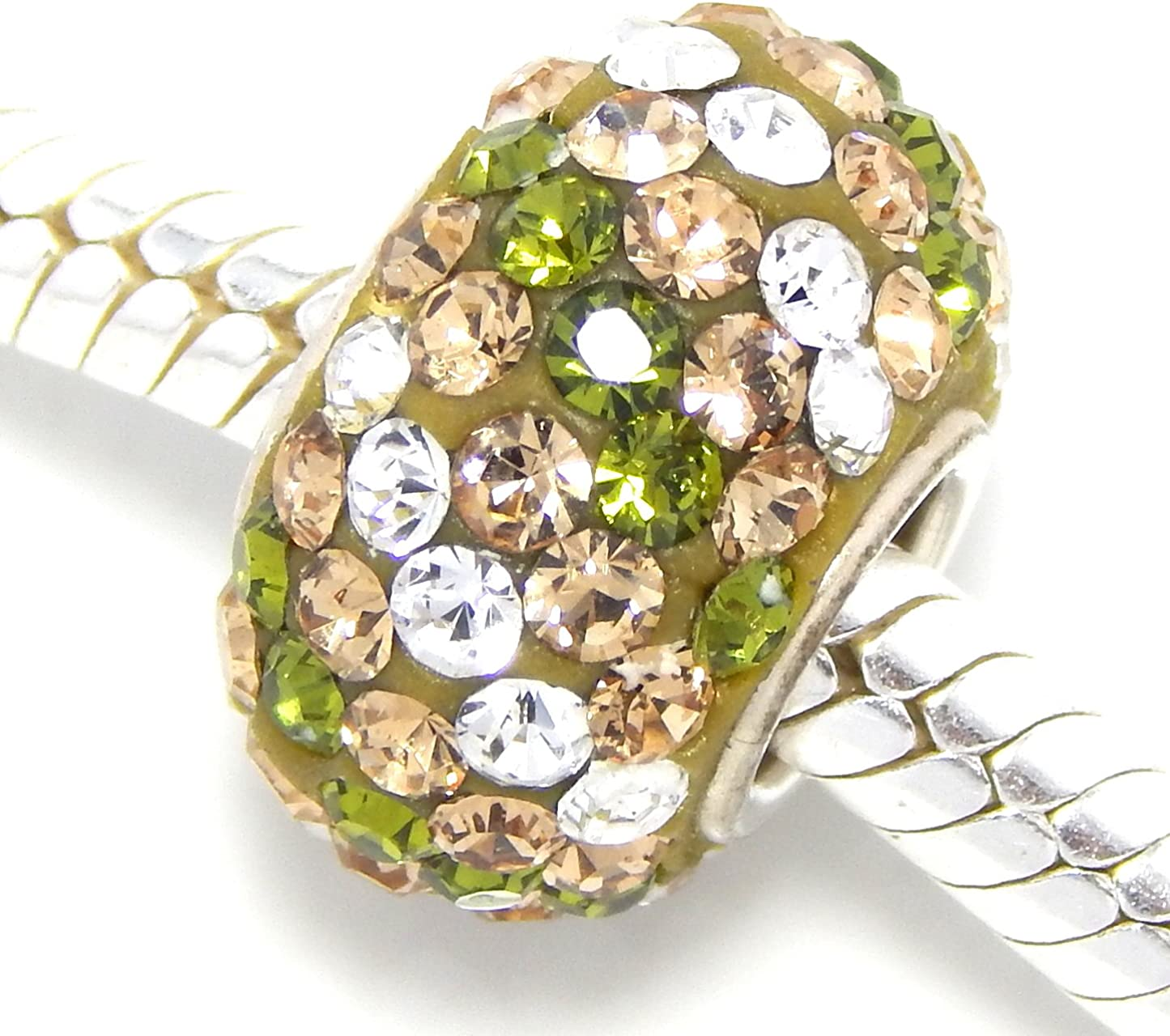 925 Sterling Silver Clear//Gold//Green Striped Crystals Charm Bead