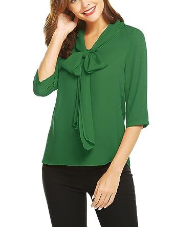 2931a21b73c04d Grabsa Women's Chiffon Bow Tie Neck Shirts Half Sleeve Office Work Blouse  Tops