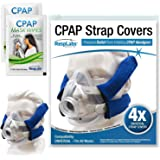 RespLabs CPAP Headgear Strap Covers, Universal and Reusable Soft Fleece Mask Pads, 4 Pack