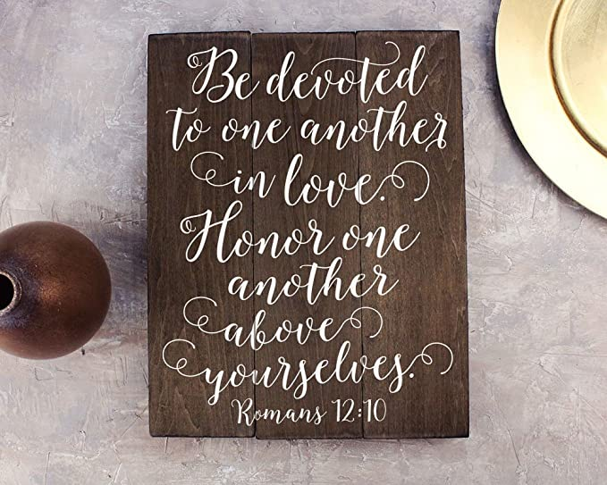 Amazon.com: Romanos 12, 10, arte de la pared versículo de la ...