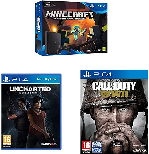 PlayStation 4 (PS4) - Consola De 500 GB + Call Of Duty WWII + Minecraft + Uncharted: El Legado Perdido: Amazon.es: Videojuegos