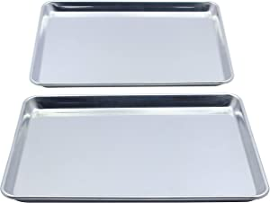 Checkered Chef Stainless Steel Quarter Sheet Pan Twin Pack - 2 Small Baking Sheets 9 ½ x 13 Inches - Warp Resistant Heavy Duty Rimmed 1/4 Sheet Pans For Baking
