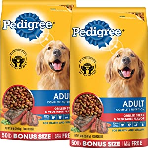 PEDIGREE Complete Nutrition Adult Dry Dog Food Bonus Bags (Steak, 50 lbs. Pack of 2)