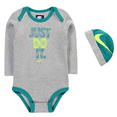 ae8e41e658 Nike Age 0-3 Months 2 Piece Infant Set Bodysuit Grey Hat Beanie Baby ...