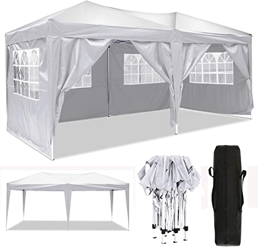 Cenador plegable 3 x 3 m / 3 x 6 m, resistente al agua, para jardín, para fiestas, festivales, pabellón plegable, protección solar (3 x 6 m), color blanco: Amazon.es: Jardín