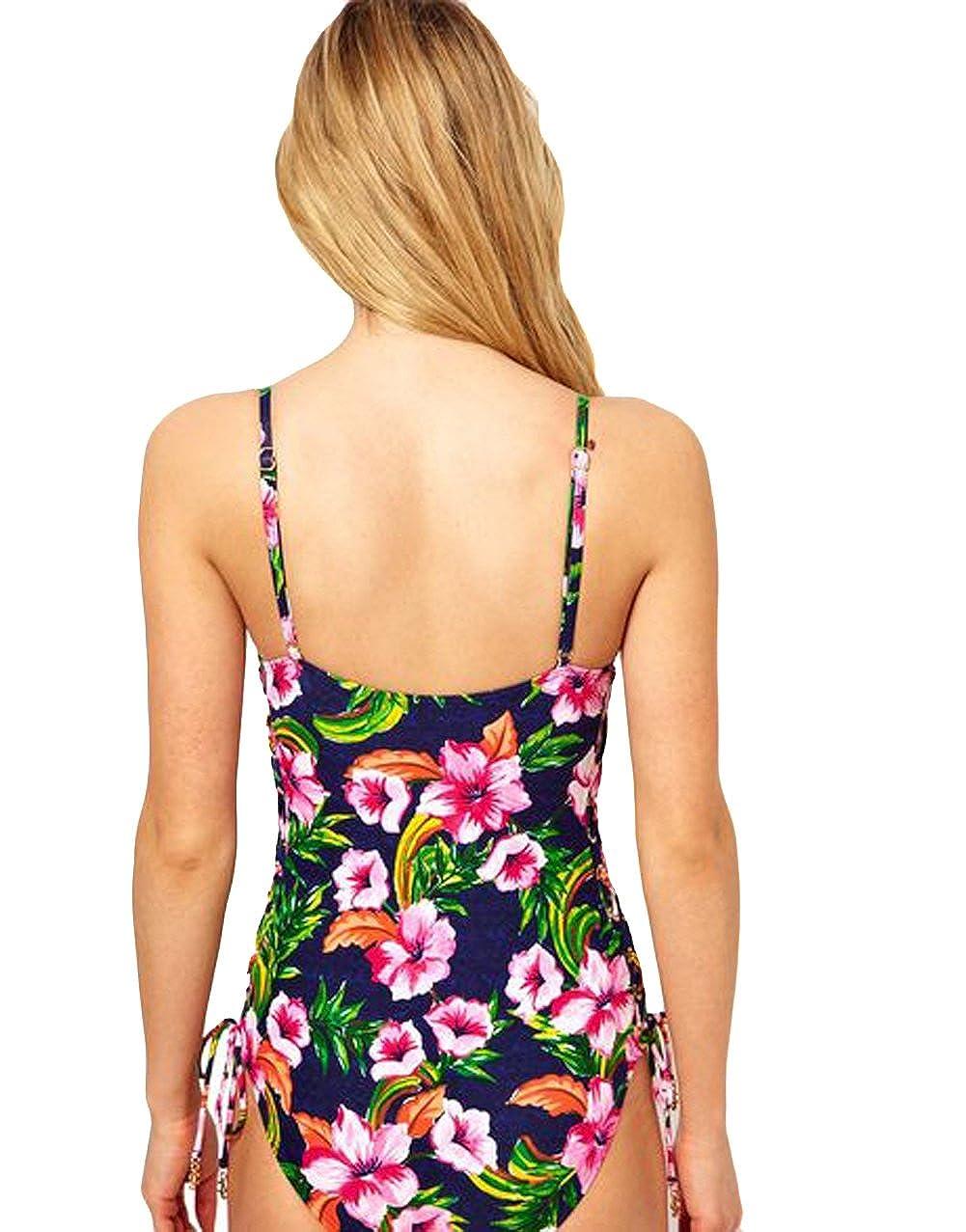 59dff6d8dfa Amazon.com: Juicy Couture Wild Flower Lace Up Swimsuit (XS): Clothing