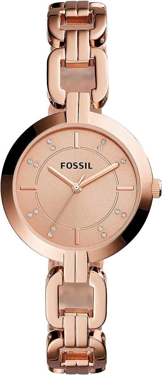 Amazon Com Fossil Women S Kerrigan Quartz Stainless Three Hand Watch Color Rose Gold Model Bq3206 Watches