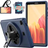 HXCASEAC Galaxy Tab A7 Lite 2021 Case with Screen Protector Pen Holder, 360 Swivel Stand & Hand Strap, Shockproof Full Body P