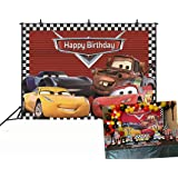 GYA Cartoon Racing Mobilization Birthday Themed Backdrops Racing Flag Black White Grid Red Photo Backgrounds for Photography Birthday Party Banner Photo Booth Props GYA-th73-7x5FT