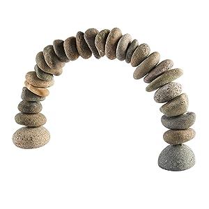 Rock Cairn Arch Sculpture Natural River Stone Arch Zen Garden Decor Statue Rocks Stacked,