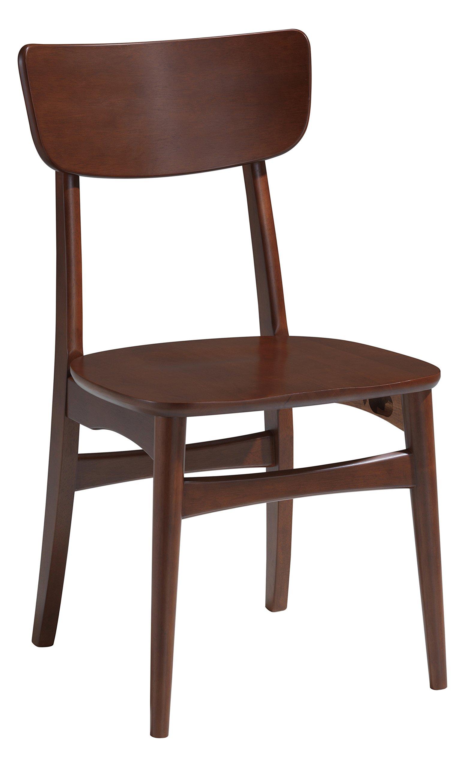 Baxton Studio Set of 2 Netherlands Mid-Century Modern Scandinavian Style Dark Walnut Bentwood Dining Side Chairs - 2-piece mid-century modern dining chair set Materials: Solid rubber wood and MDF with brown wood veneer Rich walnut-veneer finish - kitchen-dining-room-furniture, kitchen-dining-room, kitchen-dining-room-chairs - 71Oq lX6ckL -