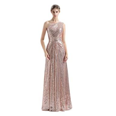 HZWL Womens Sequined Lace One Shoulder Sleeveless Foor Length Prom Dress Party Gowns (Rose Gold
