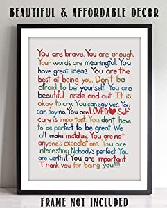 """You Are Enough-Loved-Important""- Inspirational Wall Art Print- 8 x 10"" Ready to Frame. Motivational Wall Art-Home Décor- Office Décor. Perfect For Building Confidence in Children, Friends & Graduates"