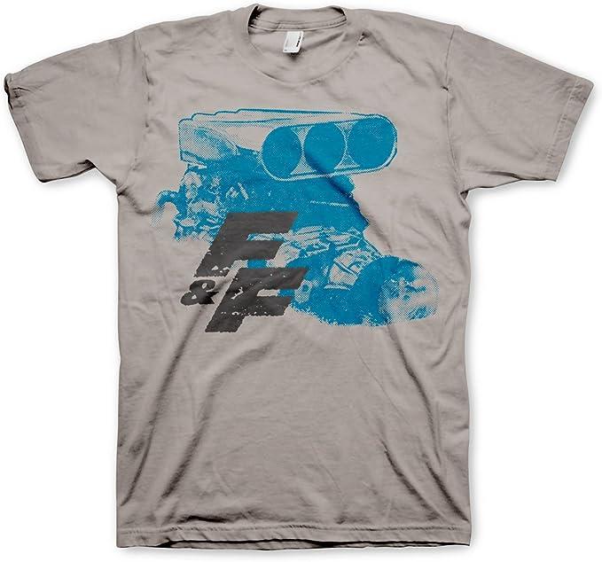 Oficialmente Licenciado Fast & Furious Engine Hombre Camiseta (Gris Claro): Amazon.es: Ropa y accesorios
