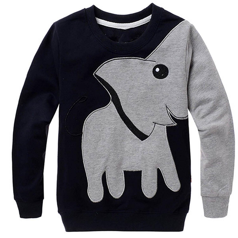 CM-Kid Little Boys' Super Cute Elephant Print Sport Long Sleeve T-shirt Cartoon Head Sweatshirt Pullover