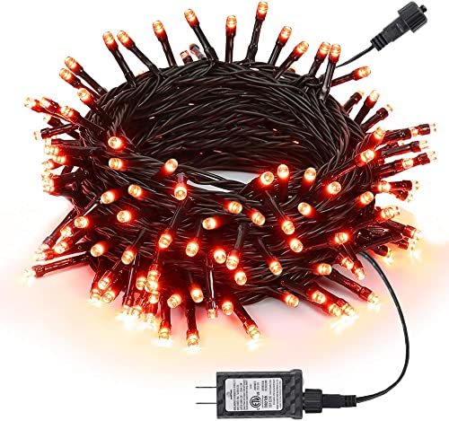 Joomer Orange Halloween Lights, 66Ft 200LED Halloween String Lights with 8 Modes, Timer Function, Connectable, Low Voltage Plug-in LED String Lights for Halloween Decorations