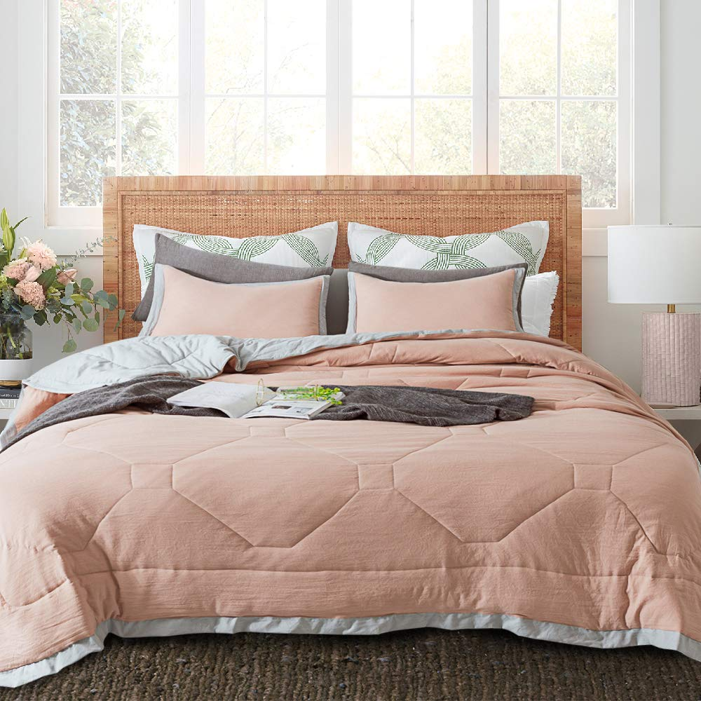 ONESHINE Quilted Comforter Set with Stylish Grey Edge - All-Season Microfiber Bedspread & Coverlet, Soft Warm Bedding with Shams - Simple Design (King + 2 Shams, Peach Rose)