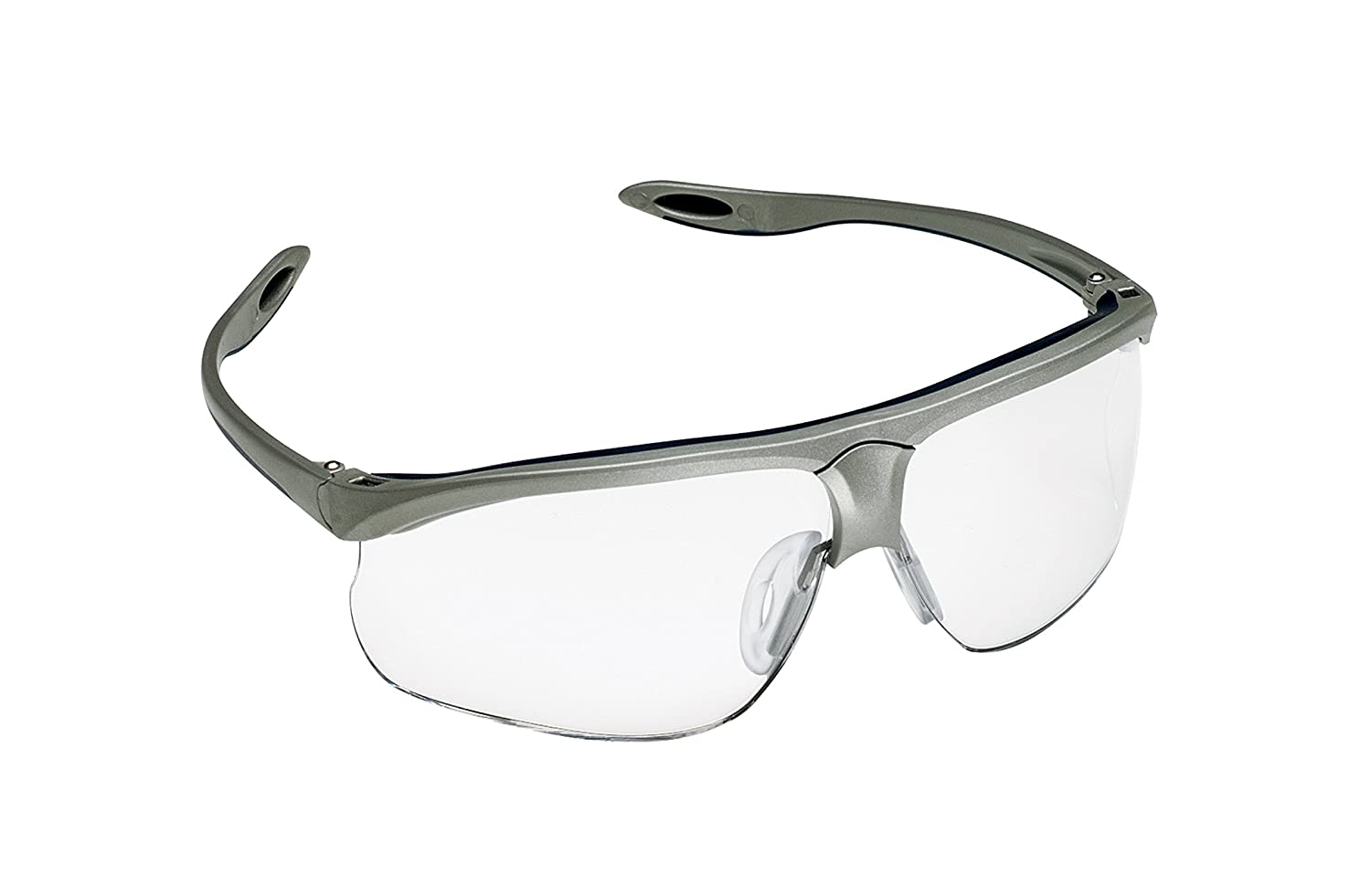 Glass Safety Glasses in Plastic Smoke Gray Safety Frame with Permanent Side Shields, 50mm Eye Size, Clear Glass Lenses by SAFETY GLASS B000LPPMA2