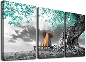 Canvas Wall Art Animal Resting Elephant Look at The Moon Green Tree Wall Pictures Bathroom Decor Living Room for Bedroom Pictures Artwork Nautical Kitchen Bedroom Marine Theme Décor 12