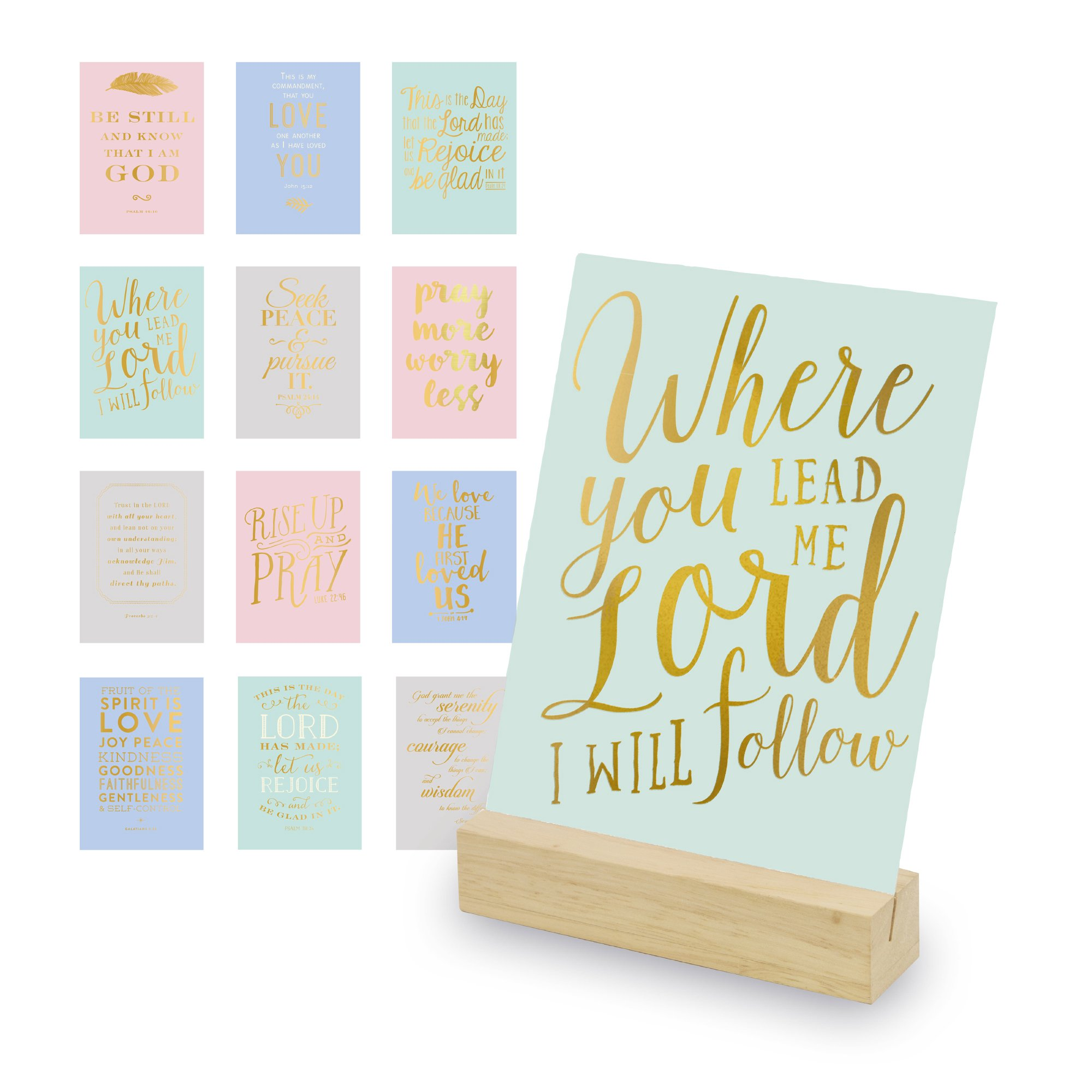 Eccolo World Traveler Christian Art Desk Stand, Wooden Block Stand, 12 Gold Stamped Inspirational Cards
