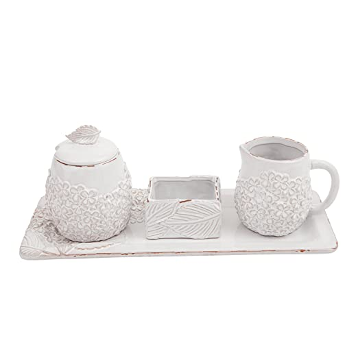 Christmas Tablescape Décor - Mud Pie white milk glazed terracotta hydrangea sugar & creamer set