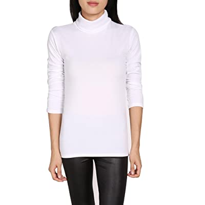 Asatr Womens Classic Solid Long Sleeve Top Heavy Weight Turtleneck Base Layer Shirt