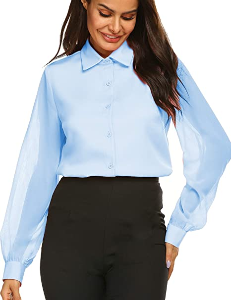 4d0bed2c8fa3e3 Blouse Casual Loose Shirt Tops Casual Office Work Chiffon Blouse Shirts Tops  Light Blue