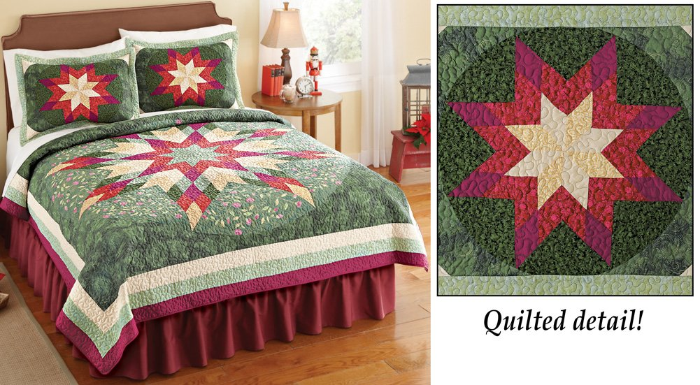 Collections Etc Holiday Star Christmas Patchwork Quilt, Twin, Green