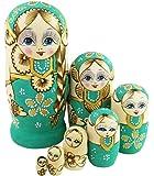 三つ編みの女の子 緑の胴体 花柄 マトリョーシカ人形 マトリョーシカ 手業 手塗り 木製品 7個組 誕生日プレゼント 贈り物 子供のおもちゃ 飾り物 置物 期間限定
