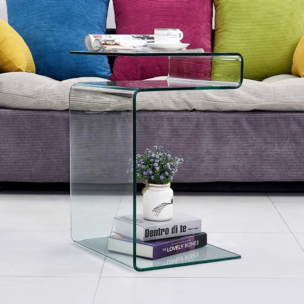 Clear Glass Side Table, Bent Modern Home Office Furniture, Small Tables for Living Room, Sofa End Table Bedroom (23.9x16.5x14.5 inch)