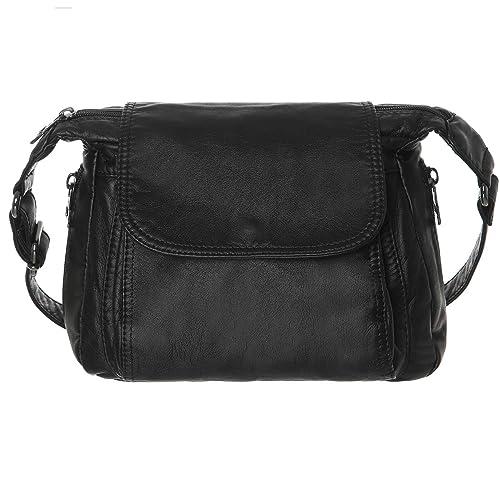 b97a0aedf136 Women Multi Classify Pockets Medium Crossbody Purse Soft Synthetic Leather  Shoulder Bag(Black)