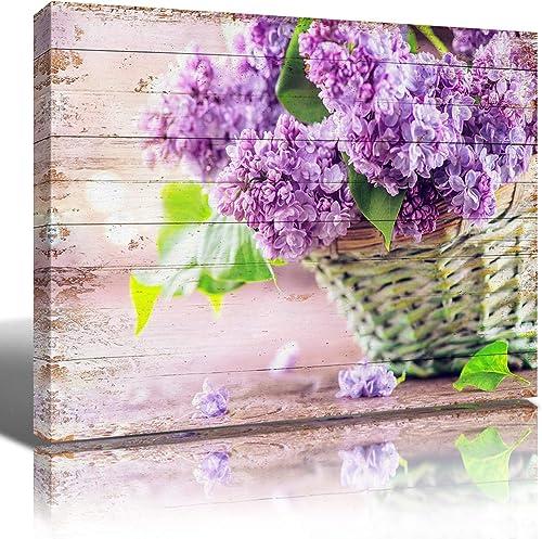 Hydrangea Canvas Wall Art Decor Purple Hydrangea Floral Prints Framed Picture