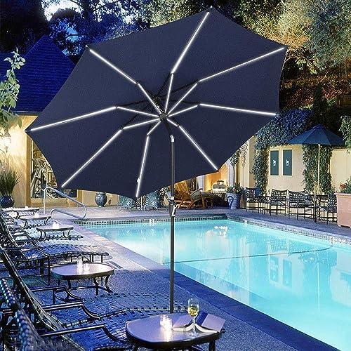 Yescom 10ft Solar Powered Patio Umbrella with Tilt and Crank 8 Ribs Outdoor Market Table Umbrella for Garden Pool Navy