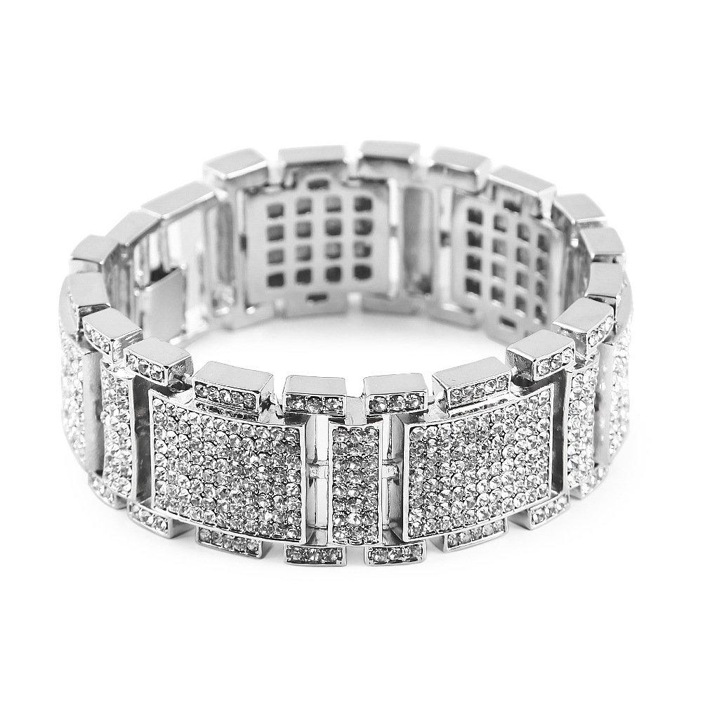 MCSAYS mens Fashion Hip Hop Rhinestone CZ Crystal Bling Bling Bracelet Iced out GM1037_Black