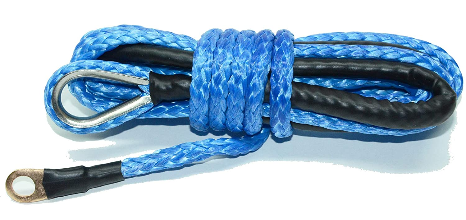 """1/4"""" x 12' Synthetic Winch Cable Rope 4000 LB for PLOW (ATV UTV) (Blue)"""
