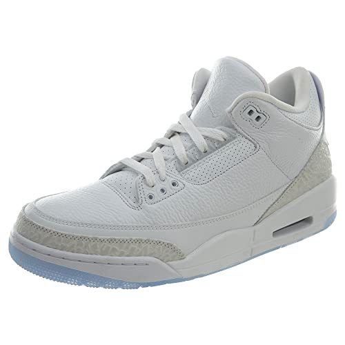 43b0720f6499b Jordan Nike Mens Air 3 Retro Powder White/Fire Red-Cement Grey Leather  Basketball Shoes