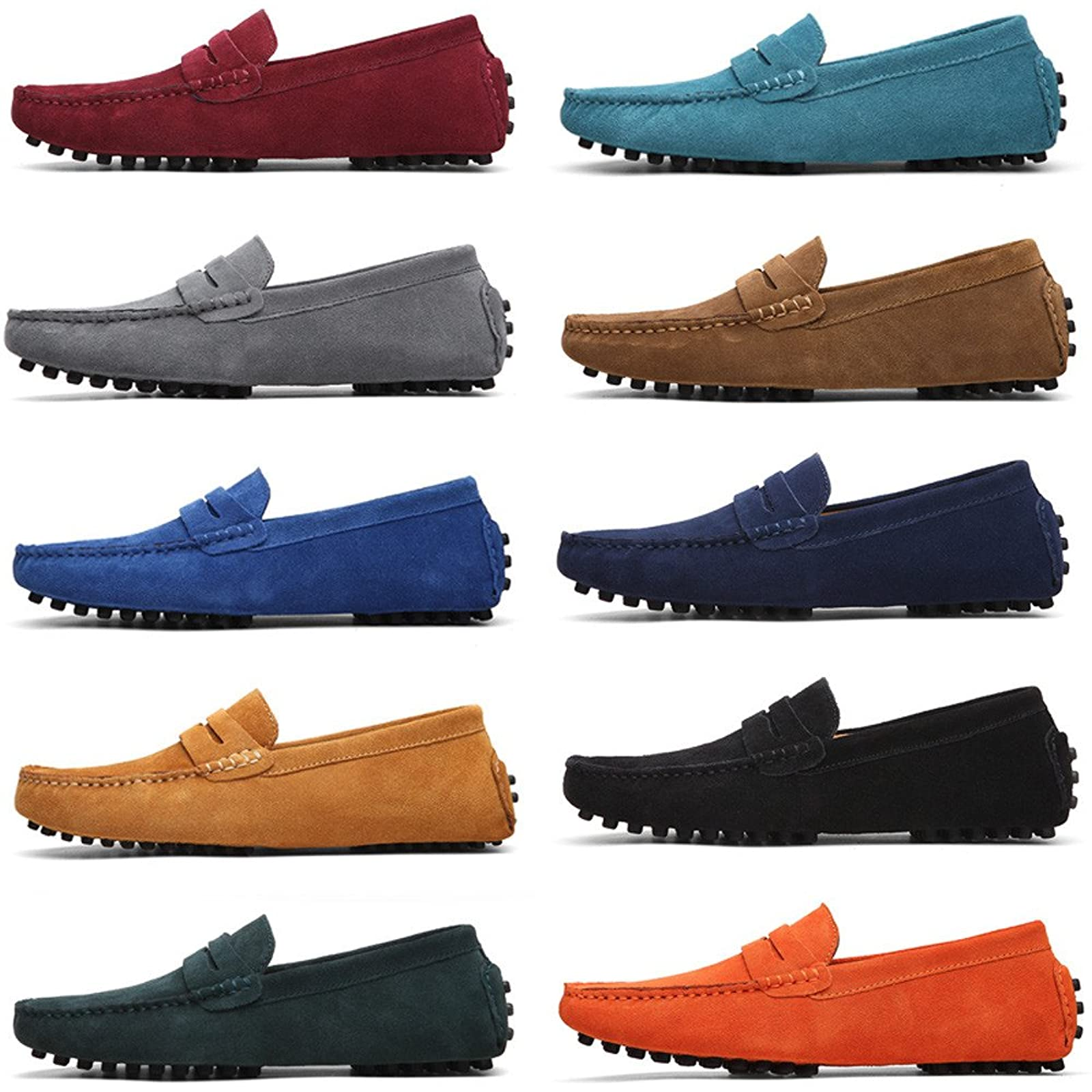 Eagsouni Men S Loafers Warm Moccasins Winter Driving Shoes Flats Slippers Slip On Casual Penny Suede Leather Dress Boat Shoes Fashion