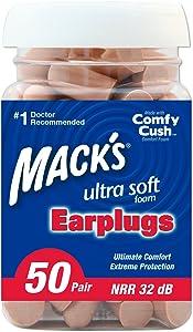 Mack's Ultra Soft Foam Earplugs, 50 Pair (Pack of 2)