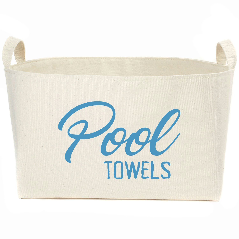 A Southern Bucket Pool Towels Canvas Storage Basket, Caribbean Blue