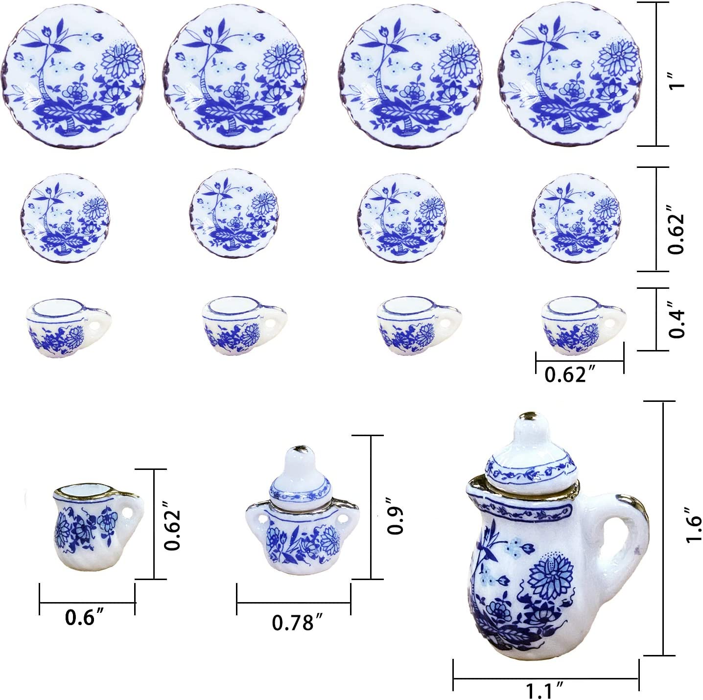 Arocalens J 1:12 Scale Mini Dollhouse Tea Set for Little Girls Miniature Small Barbie Kitchen Tea Cups Party Plates Accessories Porcelain(15pcs Blossom)