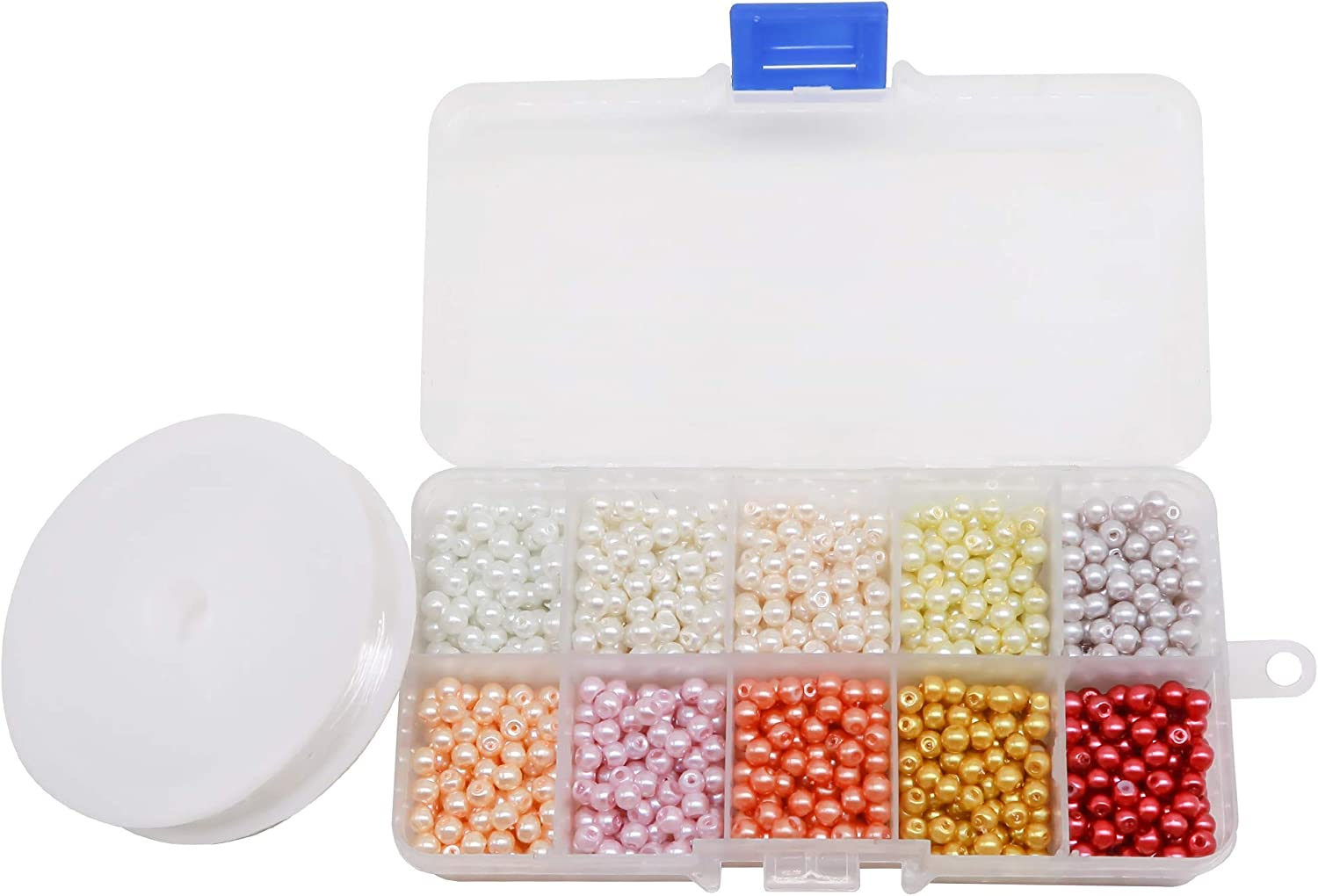 TOAOB 1000pcs 4mm Multicoloured Round Glass Pearl Beads Coloured Faux Tiny Pearl Beads for Jewelry Making Decoration Necklace Earrings with Box and Flex Wire