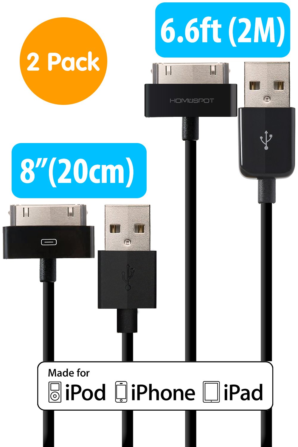 Amazon.com: [Apple Certified] HomeSpot Sync & Charge 30 pin to USB ...