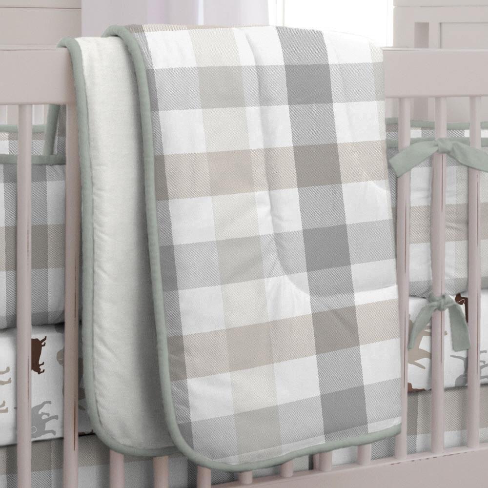 Carousel Designs Gray and Taupe Buffalo Check Crib Comforter