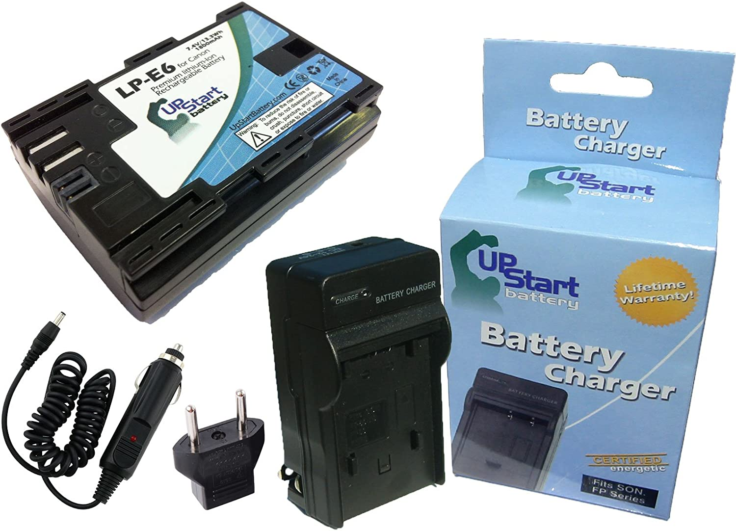 Compatible with Canon LP-E6 Digital Camera Batteries and Chargers 1800mAh 7.4V Lithium-Ion Replacement for Canon 60Da Battery and Charger with Car Plug and EU Adapter