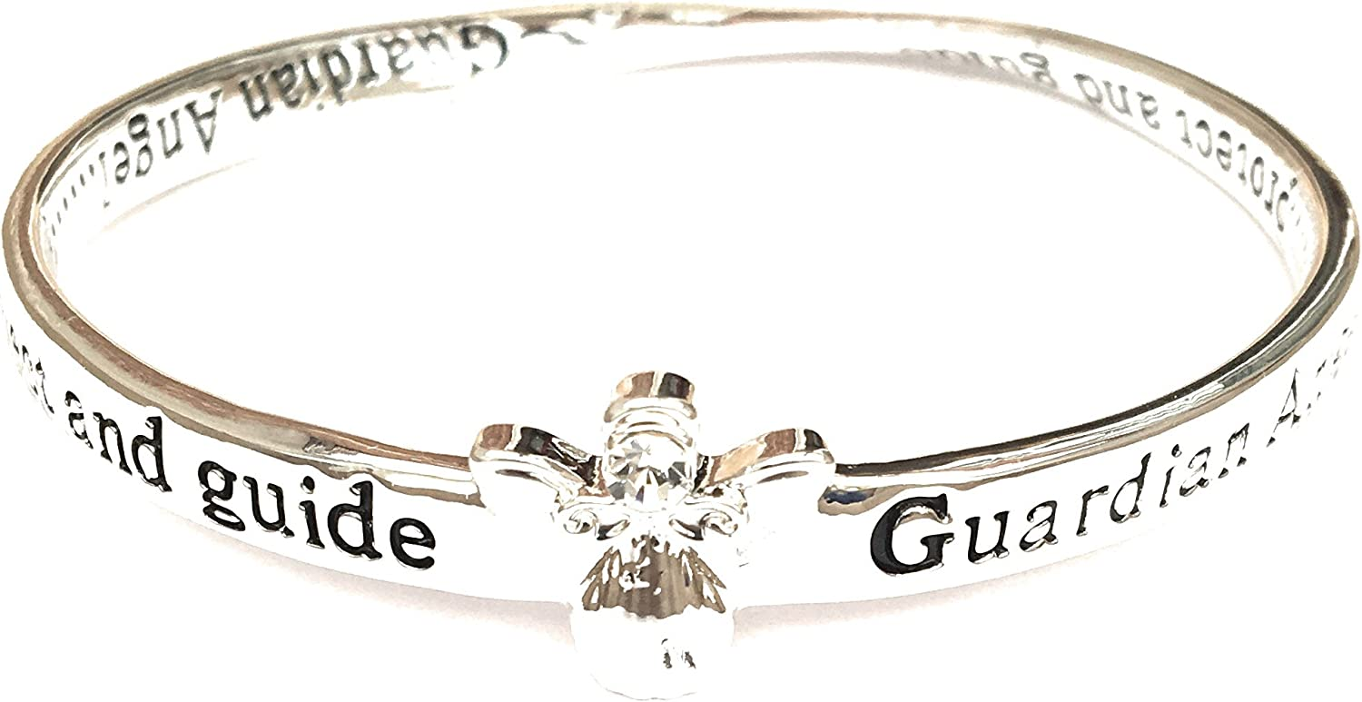 Guardian Angel Protect 7101 SILVER PLATED BANGLE BRACELET Equilibrium Jewellery