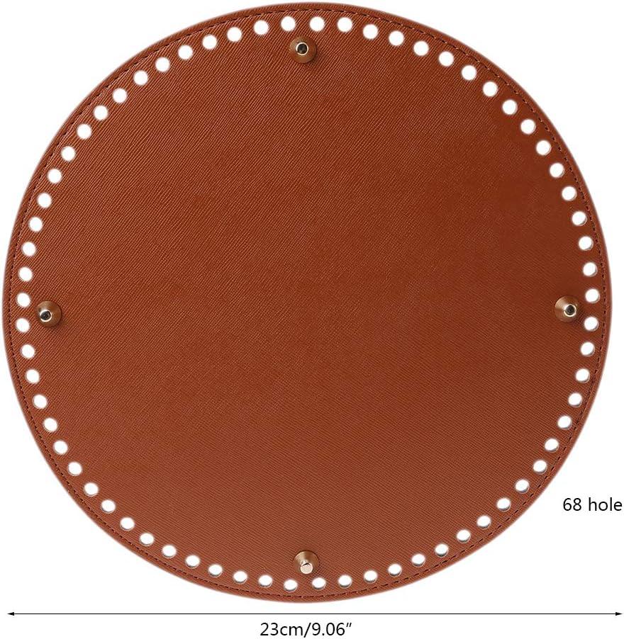 Exing Taschenboden Zum H/äkeln Leder Rund Taschenboden Braun Schwarz 23x23cm