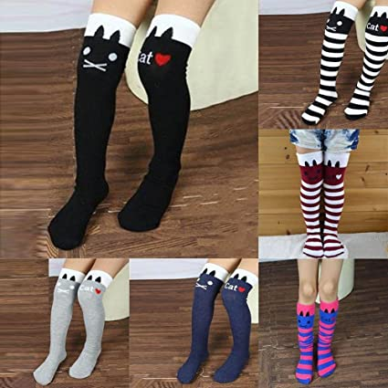 29931c1b9 Image Unavailable. Image not available for. Color  Sufang Toddlers Kids  Girls Knee High Socks School Cotton Socks Tights Striped ...