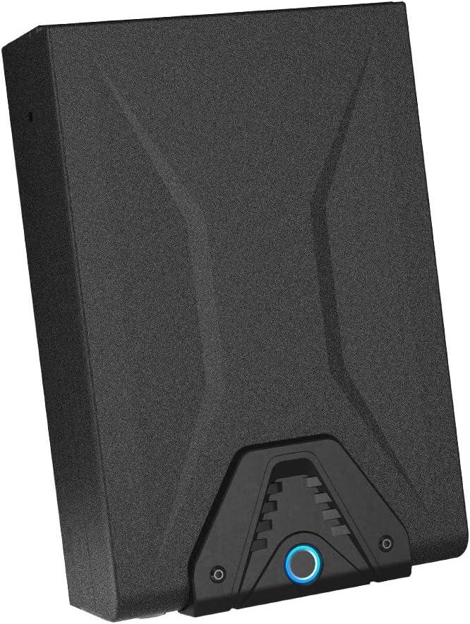 RPNB Gun Safe,California DOJ Certified,Smart Pistol Safe Quick Access with Biometric Fingerprint,Handgun Safe for Nightstand,Security Firearm Safe with LED Light,11.8